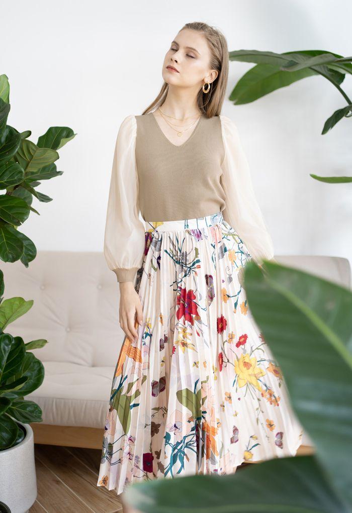 Tropical Floral Print Pleated Midi Skirt