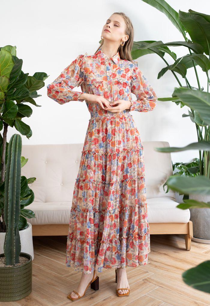 Wild Bloom Buttoned Semi-Sheer Maxi Dress