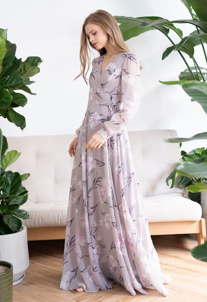 Stunning Lavender Floral Print Wrap Chiffon Maxi Dress
