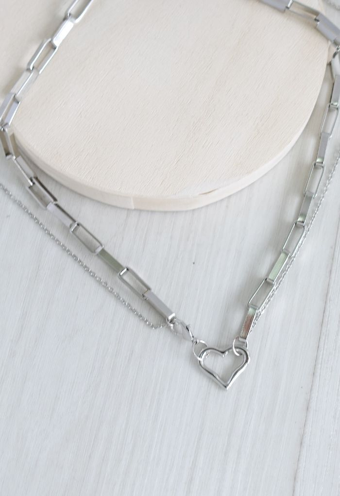 Silver Heart Paperclip Double Layered Necklace