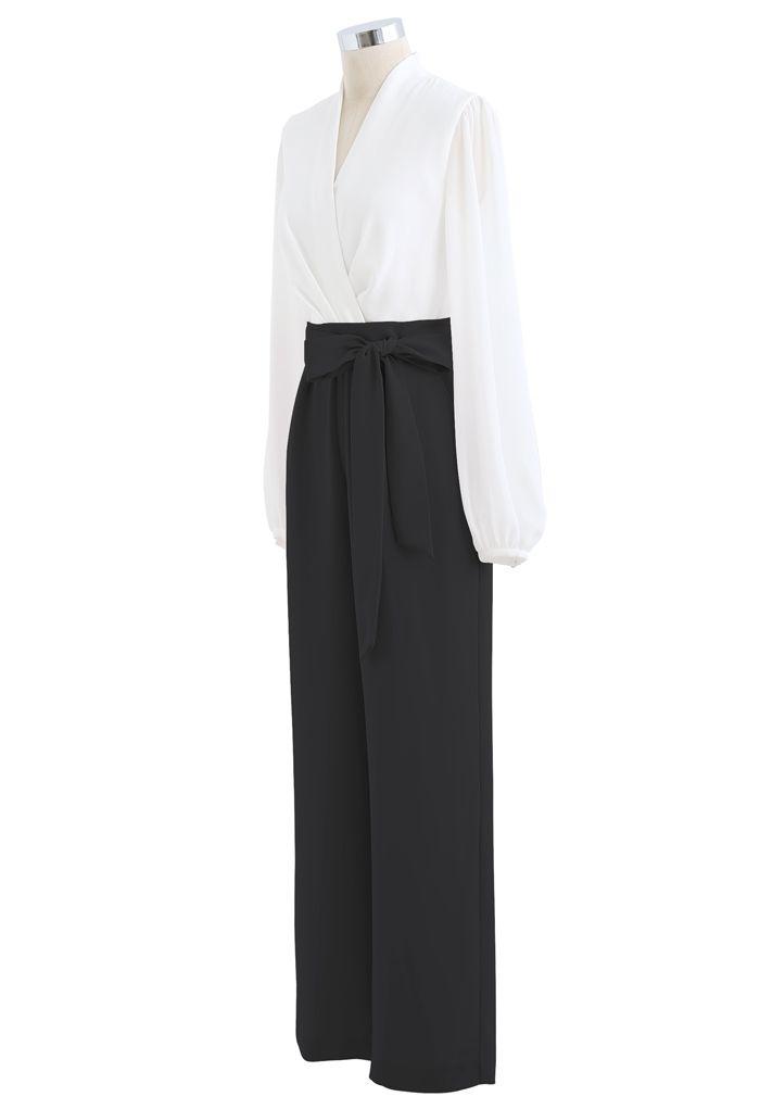 V-Neck Surplice Belted Jumpsuit in Black