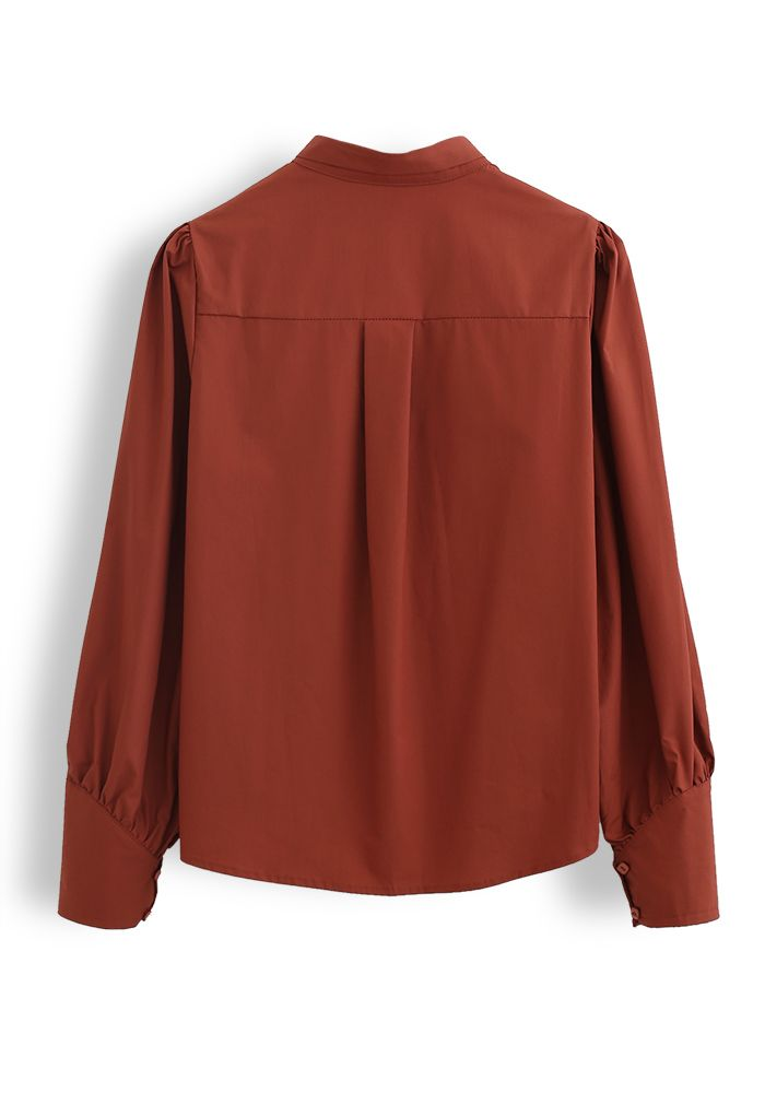 Detachable Flower Ribbon Buttoned Shirt in Caramel