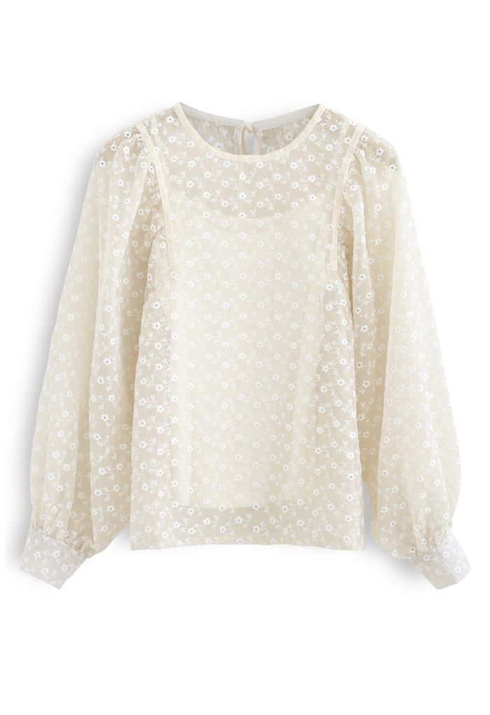 Embroidered Daisy Puff Sleeve Organza Top in Cream