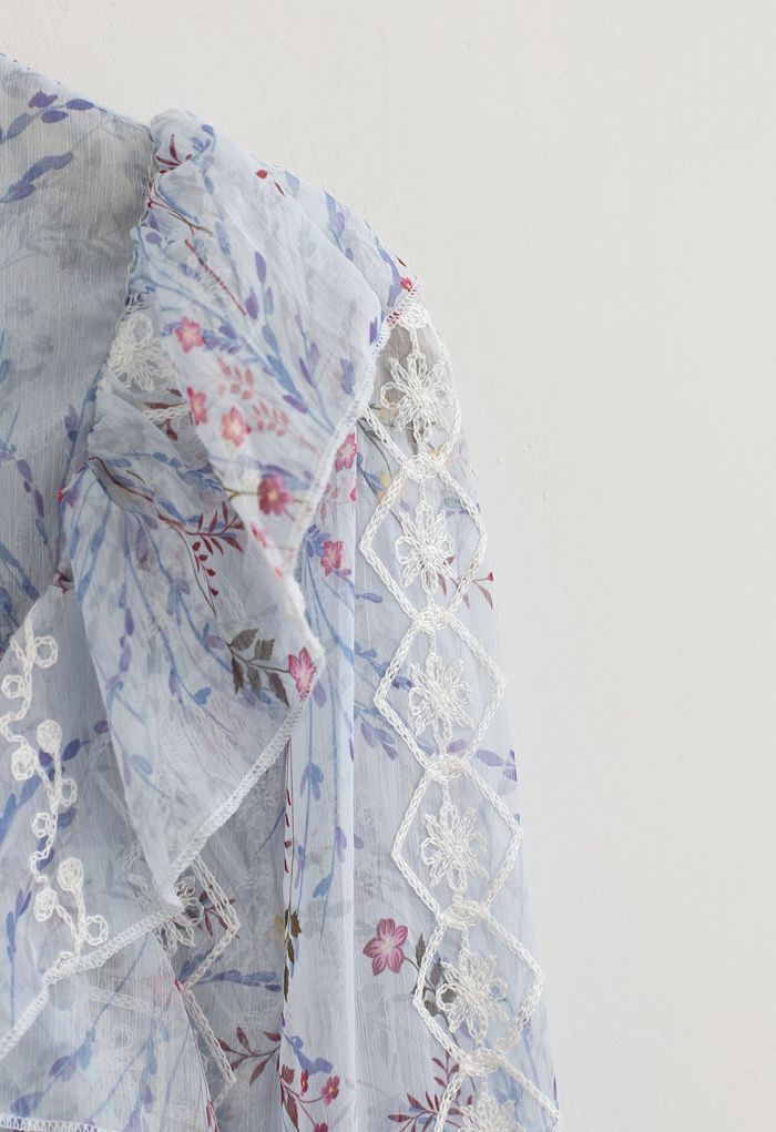 Floret Button Down Hi-Lo Organza Top in Light Blue