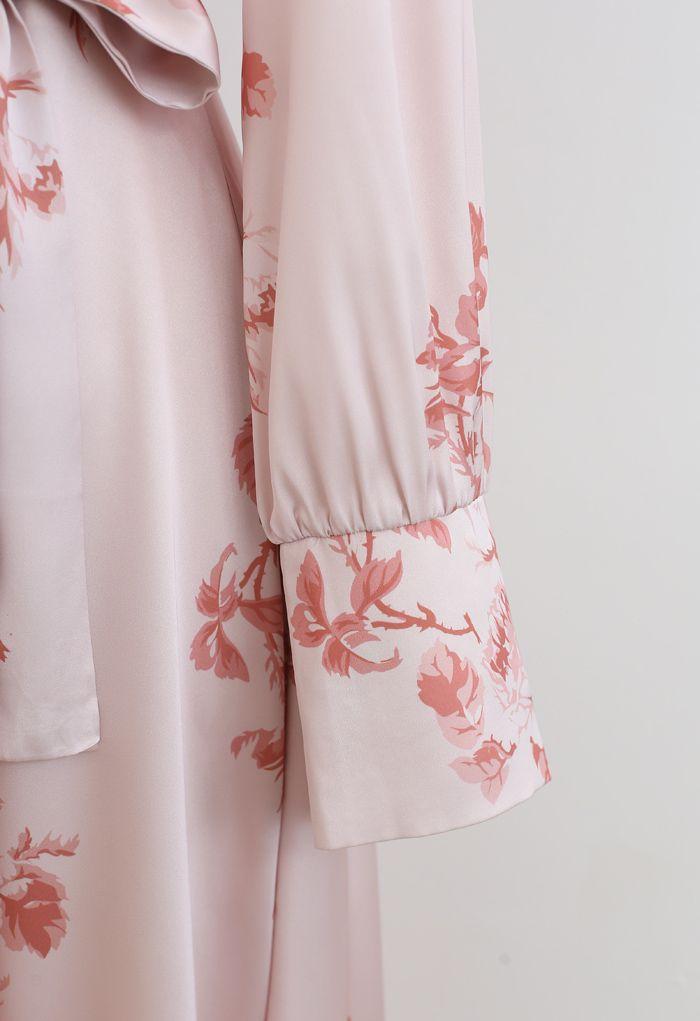 Grab the Spotlight Floral Bowknot Satin Dress in Pink