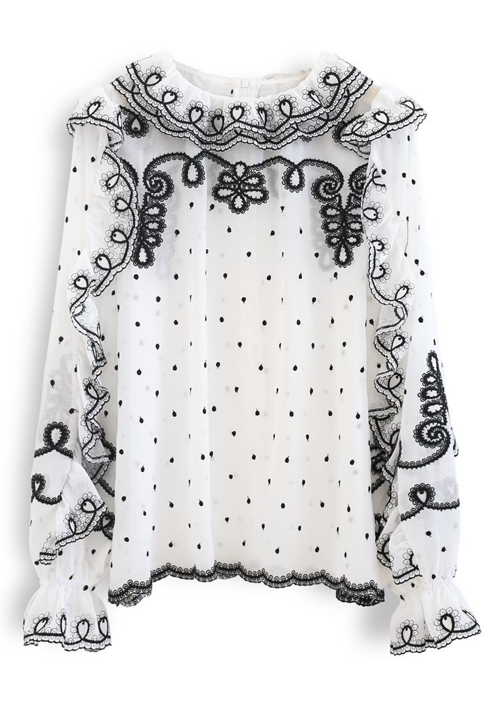 Ruffle Embroidered Chiffon Top in White