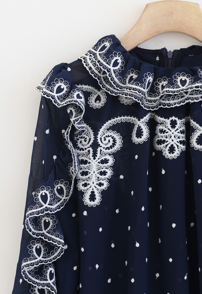 Ruffle Embroidered Chiffon Top in Navy