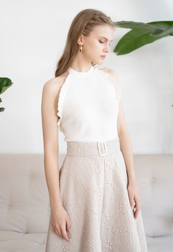 Halter Neck Ruffle Edge Knit Top in White