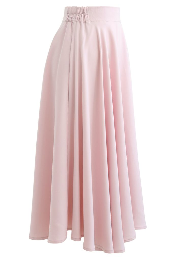Solid Color Elastic Waist Flare Midi Skirt in Pink