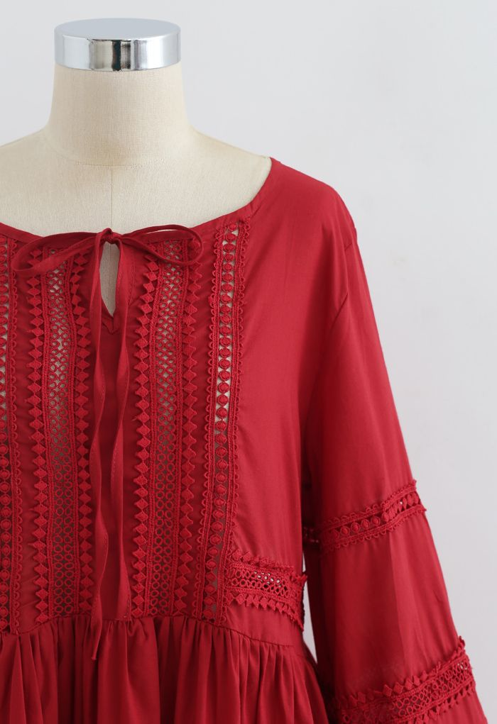 Crochet Eyelet Dolly Top in Red