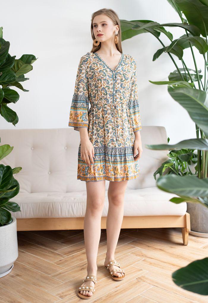 Shell Button Drawstring Waist Floral Boho Mini Dress