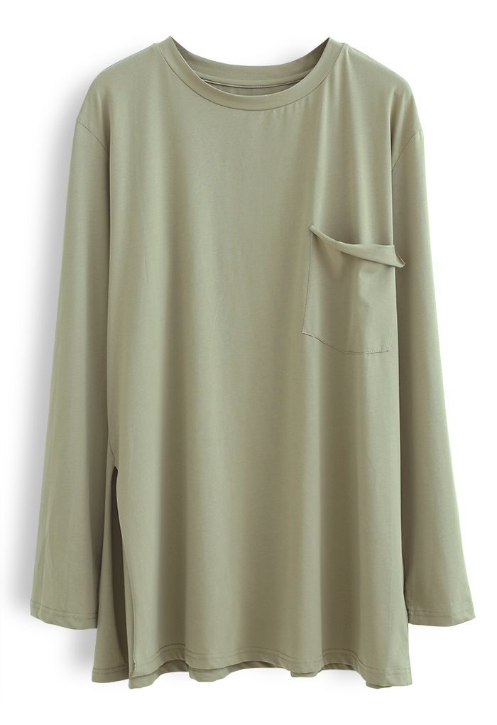 One Pocket Loose Pullover Sweatshirt in Olive