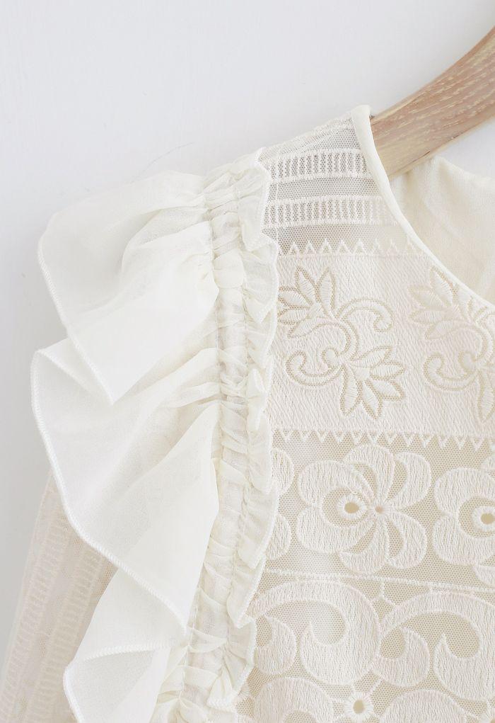 Ruffle Embroidered Tassel Peplum Mesh Top in Cream