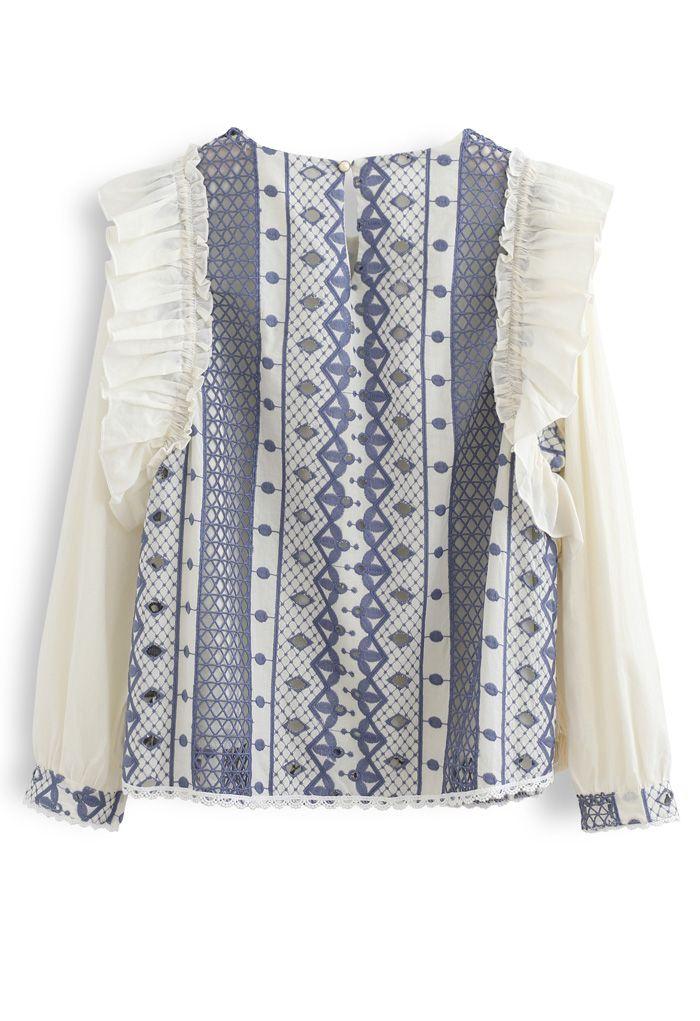 Embroidery Eyelet Ruffle Tassel Top in Blue