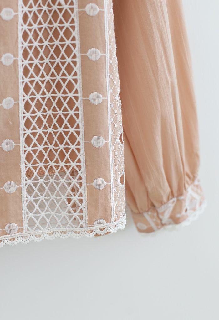 Embroidery Eyelet Ruffle Tassel Top in Tan