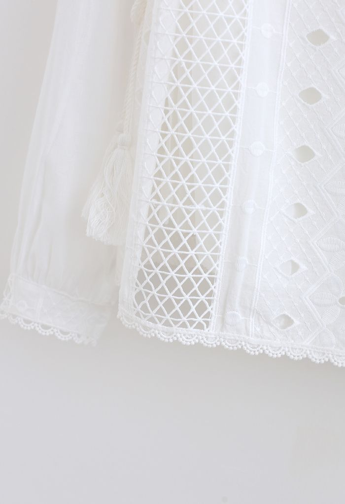 Embroidery Eyelet Ruffle Tassel Top in White
