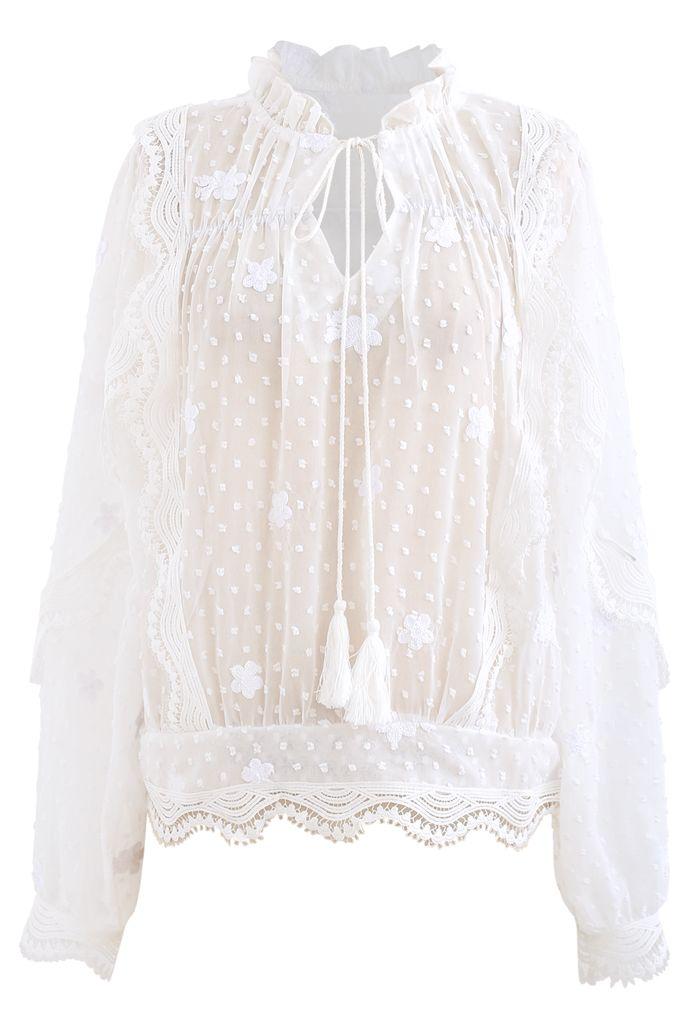 Crochet Wavy Flock Dot Tassel Organza Top in White