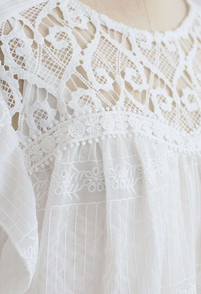 Crochet Inserted Embroidered Ruffle Sheer Top in White