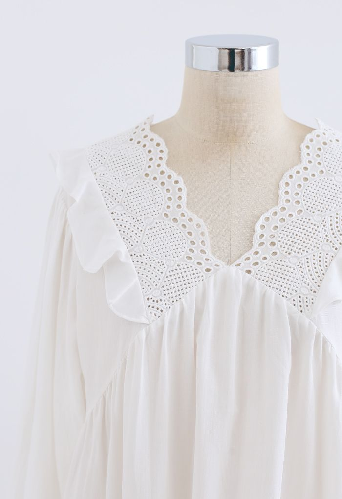 Crochet V-Neck Ruffle Dolly Top