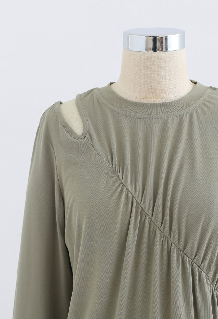 One-Shoulder Cutout Ruched Top in Olive