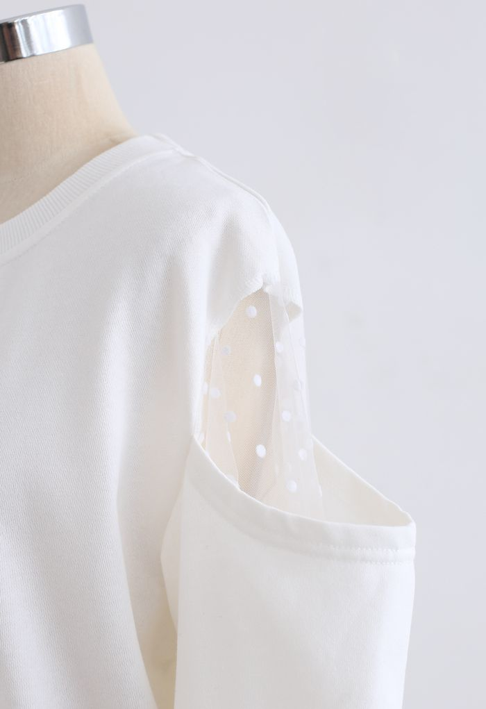 Cold-Shoulder Dotted Mesh Sleeves Spliced Top in White