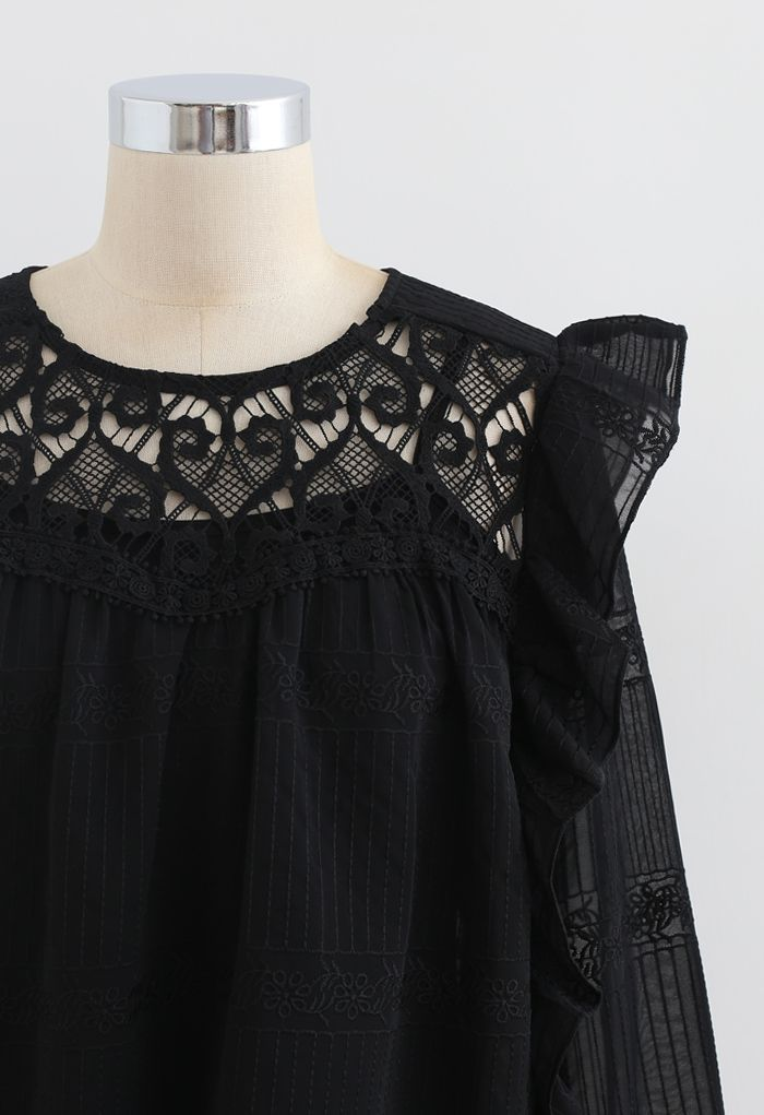 Crochet Inserted Embroidered Ruffle Sheer Top in Black