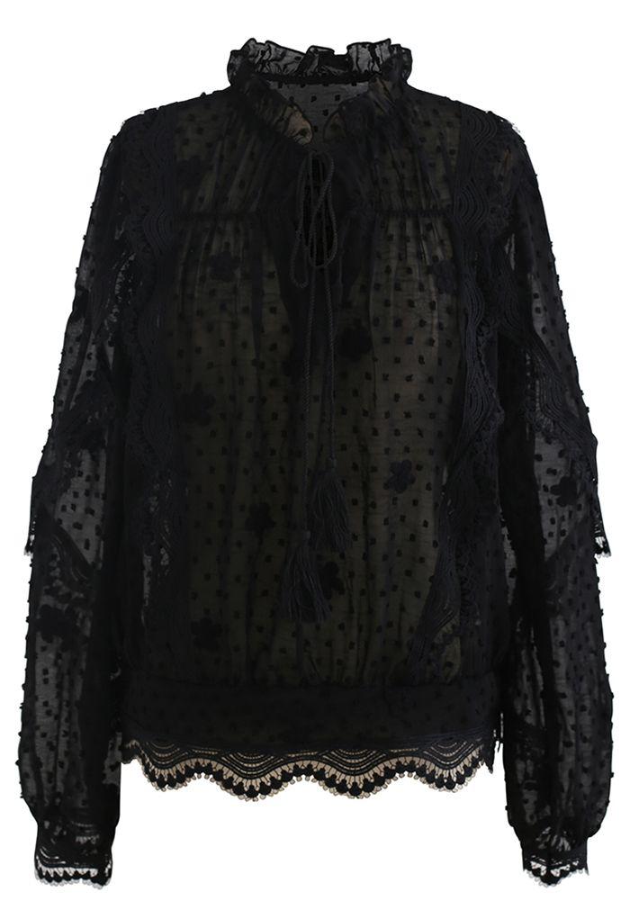 Crochet Wavy Flock Dot Tassel Organza Top in Black