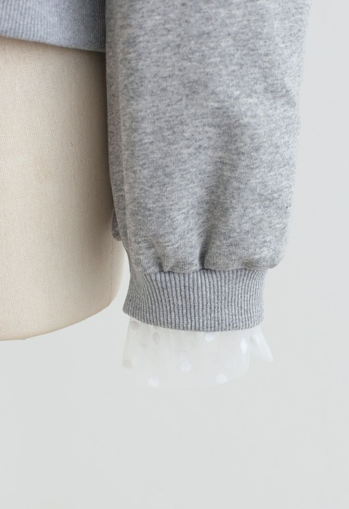 Cold-Shoulder Dotted Mesh Sleeves Spliced Top in Grey