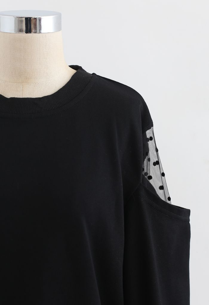 Cold-Shoulder Dotted Mesh Sleeves Spliced Top in Black