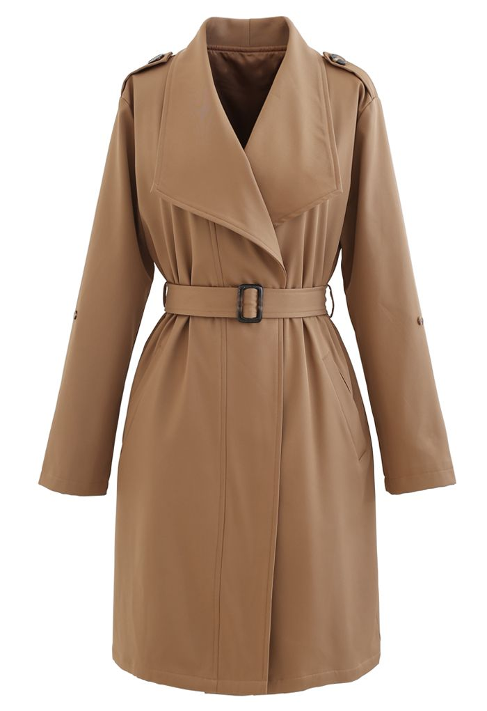 Belted Pocket Drape Neck Coat in Tan