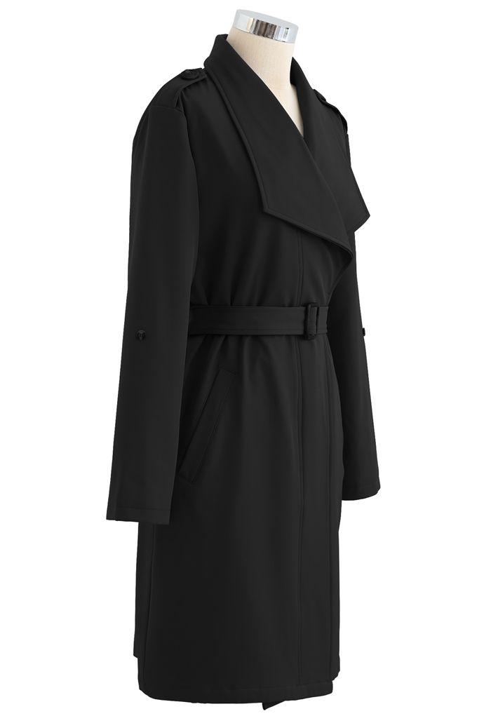 Belted Pocket Drape Neck Coat in Black