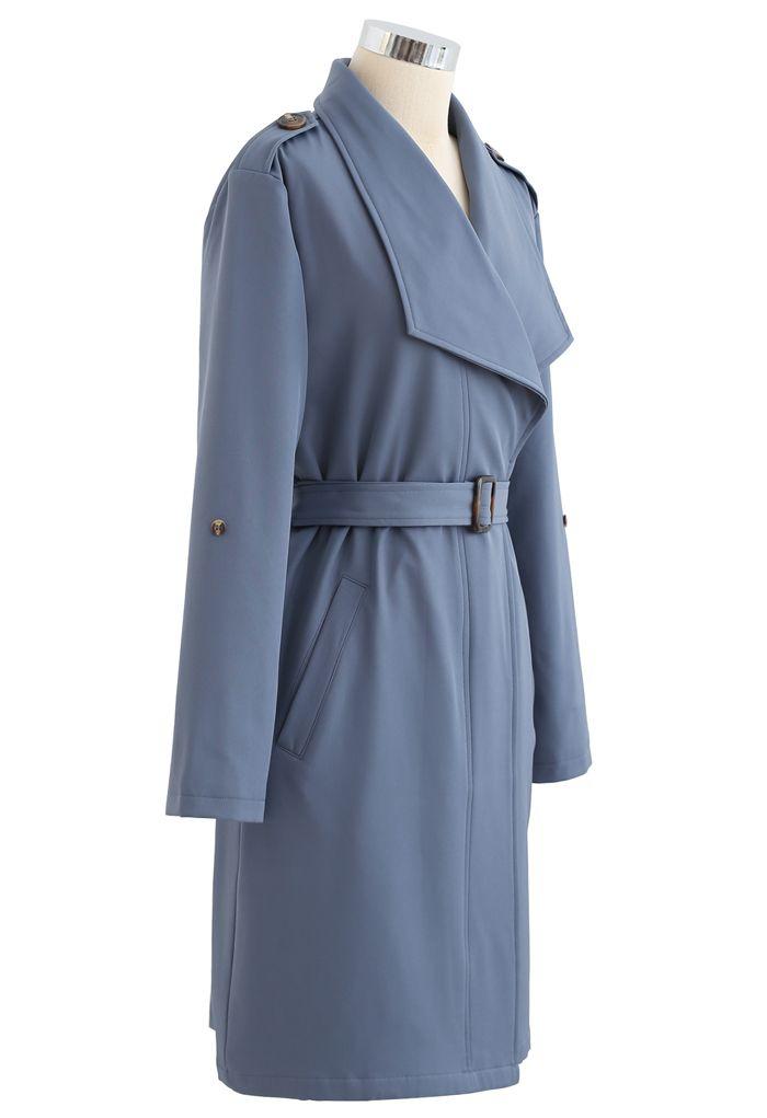 Belted Pocket Drape Neck Coat in Blue
