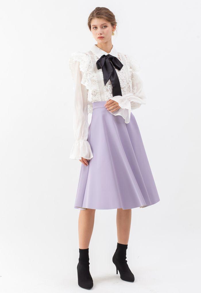Sleek Faux Leather A-Line Midi Skirt in Purple
