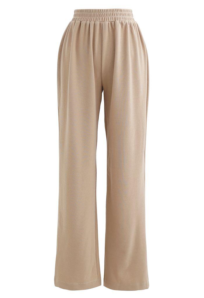 Ribbed Long Sleeves Knit Top and Wide-Leg Pants Set