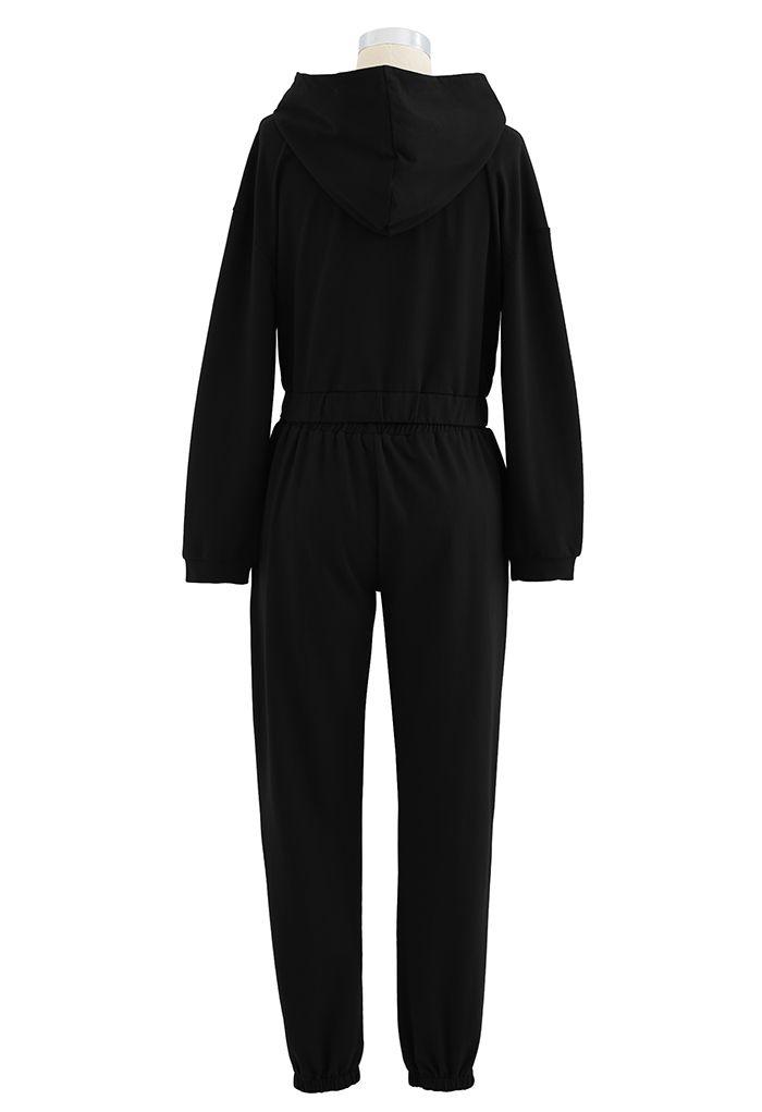 Hooded Zipper Sweatshirt and Drawstring Joggers Set in Black