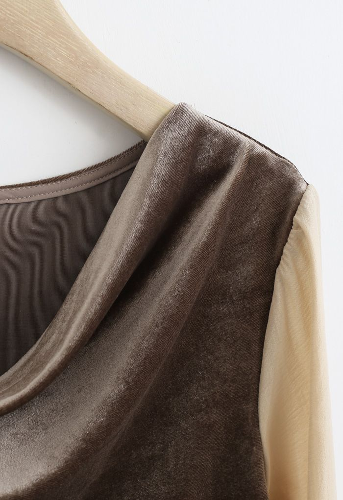 Velvet Drape Neck Versatile Shirt in Tan