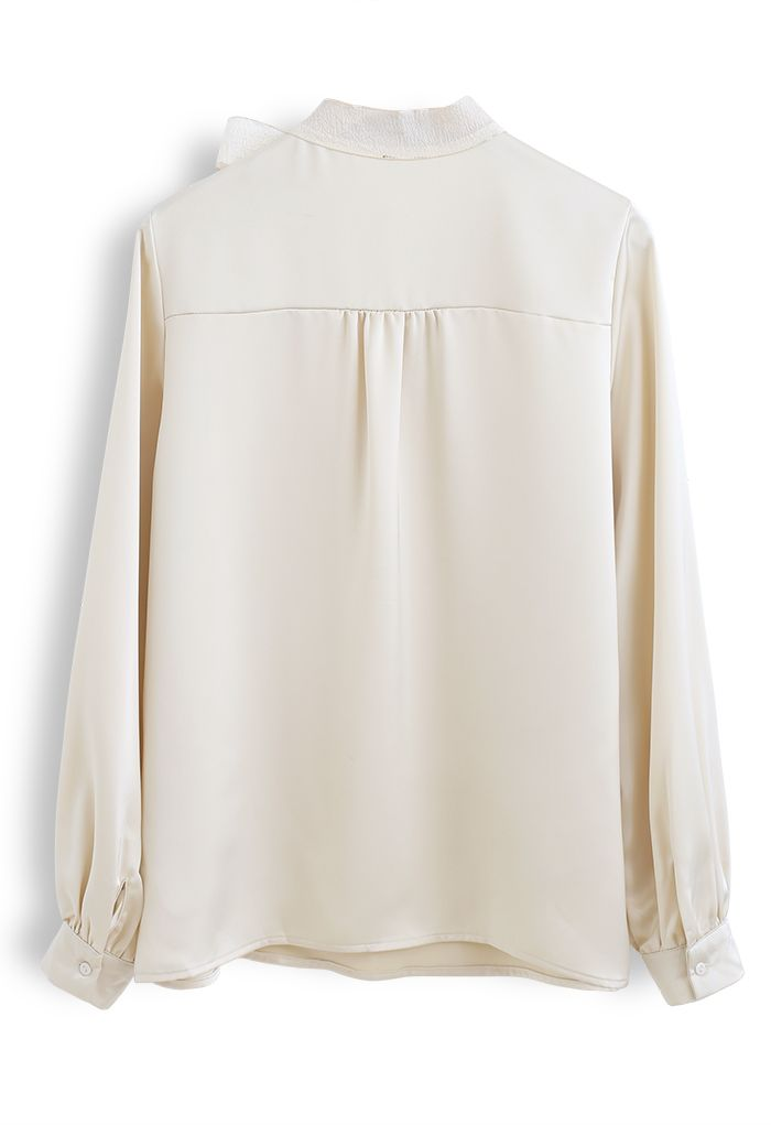 Satin Bowknot Neck Long Sleeves Top in Light Yellow