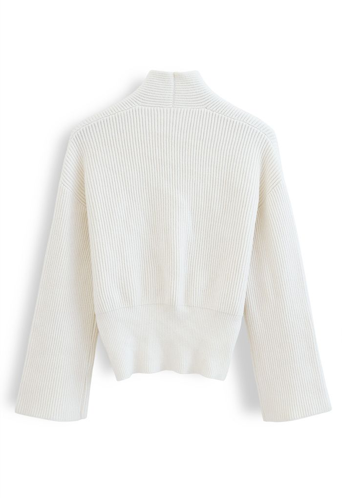 Ribbed Flare Sleeves Wrap Knit Top in Ivory