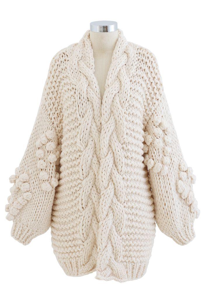 Hand-Knit Pom-Pom Braid Chunky Cardigan