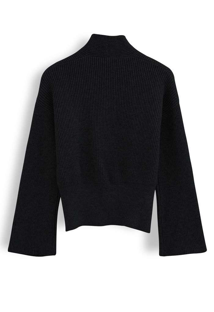 Ribbed Flare Sleeves Wrap Knit Top in Black