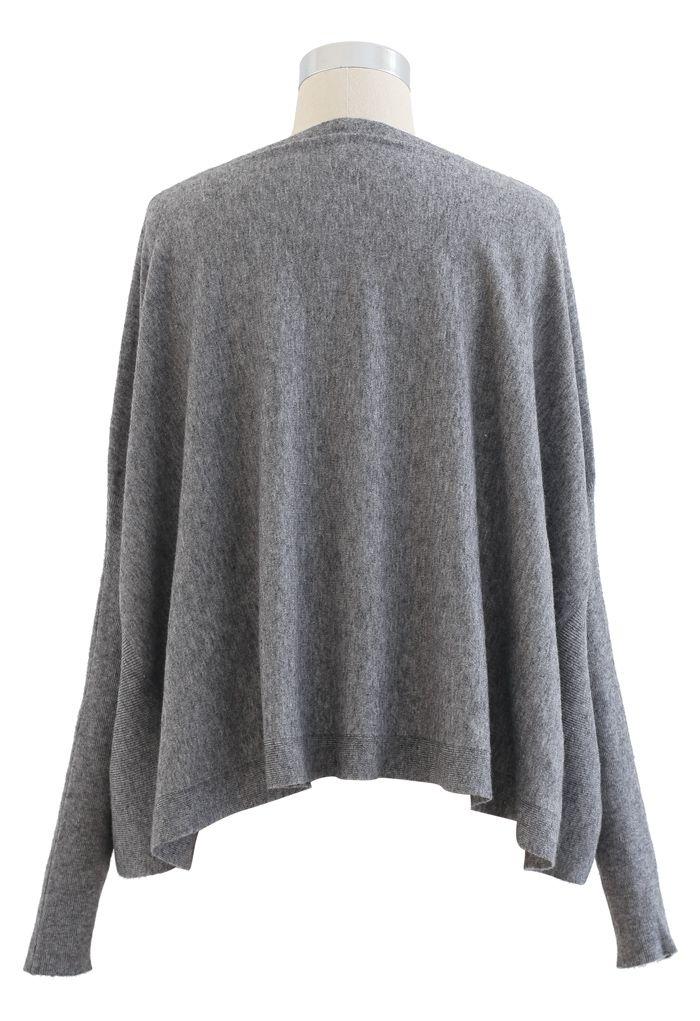 Soft Flare Hem Cape Sweater in Grey