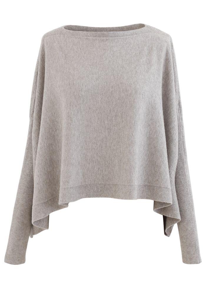 Soft Flare Hem Cape Sweater in Sand