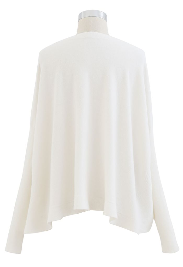 Soft Flare Hem Cape Sweater in Ivory