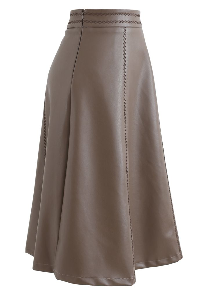Stitch Faux Leather A-Line Midi Skirt in Taupe