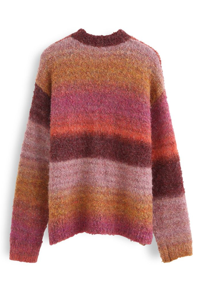 Ombre Striped Oversized Knit Sweater in Berry