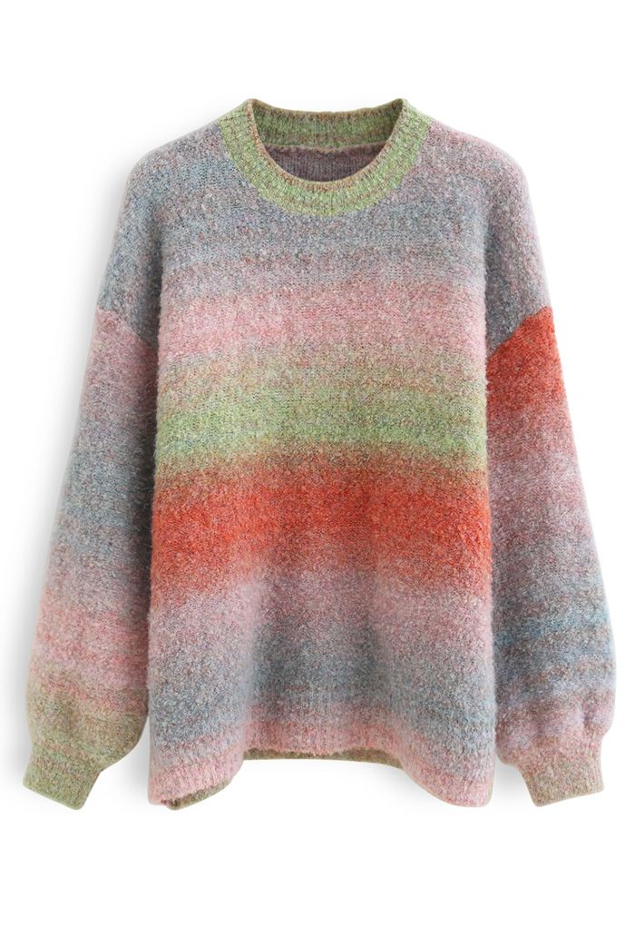 Ombre Striped Oversized Knit Sweater in Green