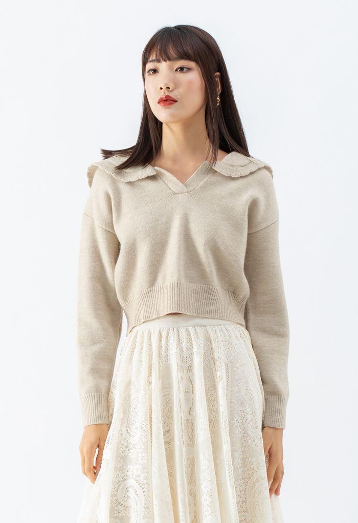 Peter Pan V-Neck Knit Crop Sweater in Light Tan