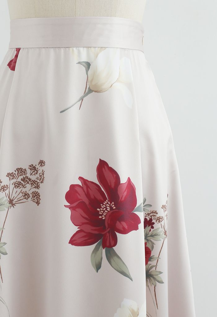 Floral Printed High-Waisted A-Line Skirt