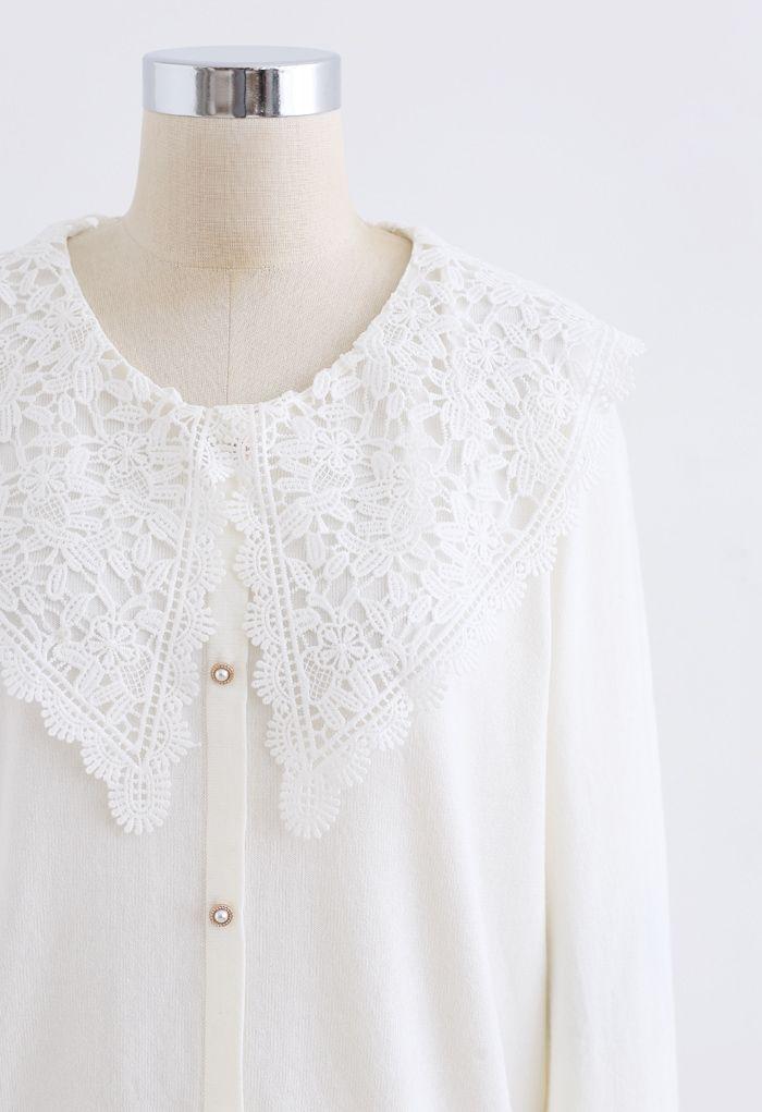 Crochet Collar Button Trim Knit Top in White