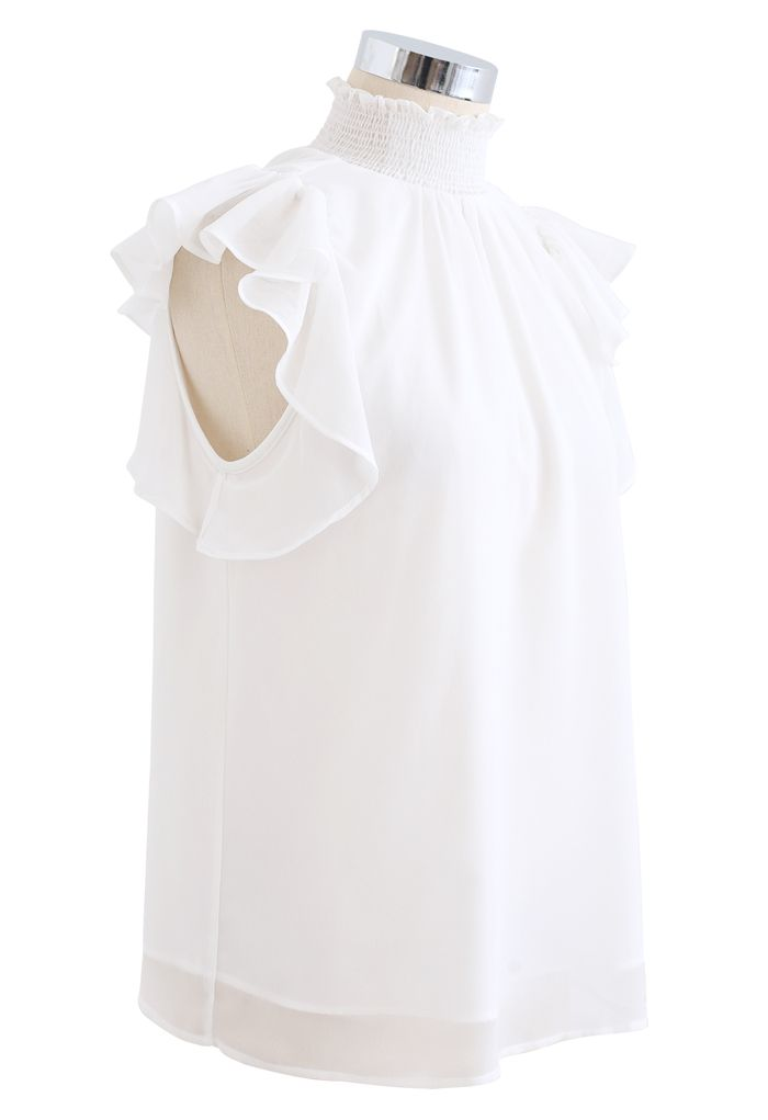 Shirred Mock Neck Ruffle Sleeveless Top in White
